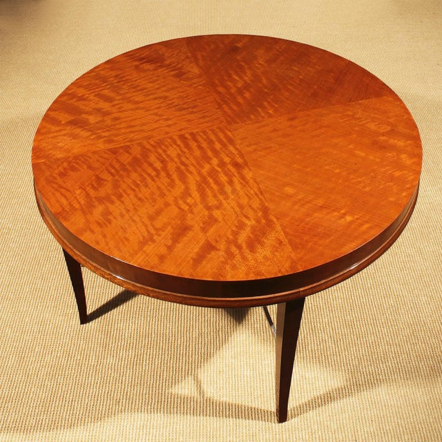 Mid-Century Modern 1940s Round sidetable by De Coene, mahogany, gilded spacer - Belgium For Sale - Image 3 of 8