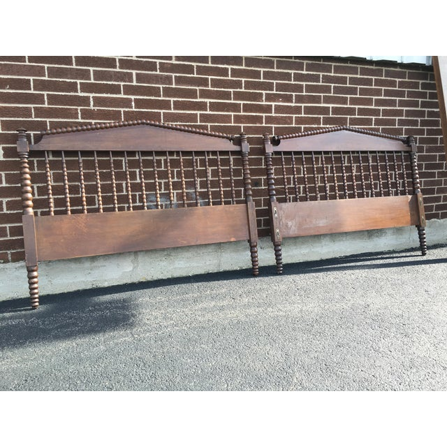 Awesome, true vintage headboard, footboard, and very unique side rails. Full size antique Jenny Lind. headboard &...