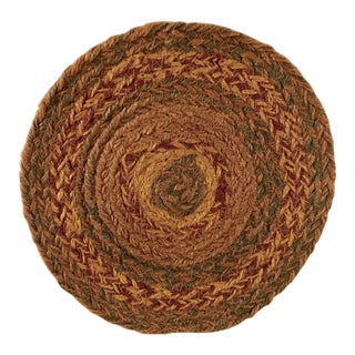 Late 20th Century Boho Chic Round Brown Jute Table Mat For Sale