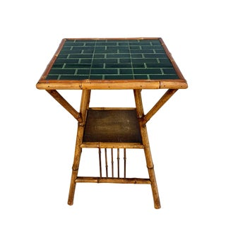 Antique 19th Century Boho Chic Bamboo Table With Tile Top For Sale