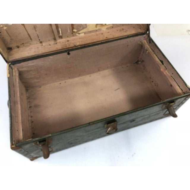 Vintage Industrial Green Wood Military Foot Locker Trunk W Tray For Sale - Image 11 of 13