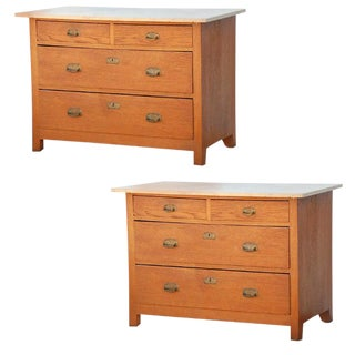 Pair of Arts & Crafts Oak and Travertine Chest of Drawers For Sale