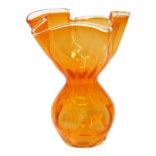 1960s Hand-Blown Orange Optic Art Glass Vase With Ruffled Rim For Sale