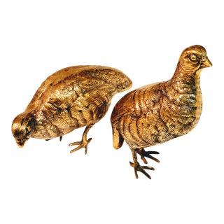 Vintage Brass Bird Partridge Figurines - a Pair For Sale