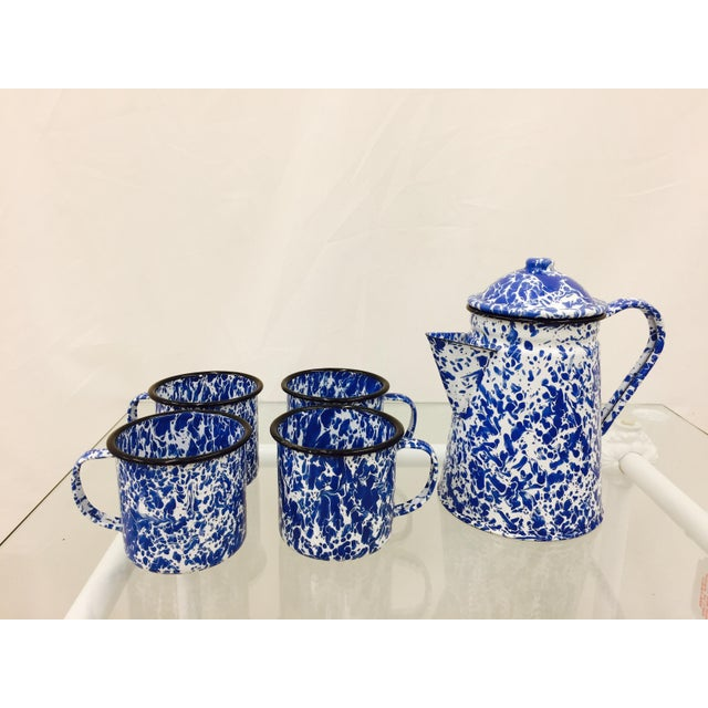 Funky Vintage Mid Century Blue & White Paint Splattered Enamelware Tea / Coffee Service Set. Complete with four coffee...
