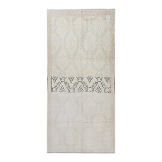 """1960s Vintage Abstract Floral Oushak Beige Mint Wool Hand-Knotted Rug - 2'11.5"""" X 6'2"""" For Sale"""