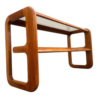 Mid-Century Walnut and Smoked Glass Console Table