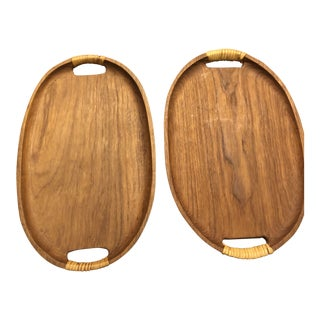 1960s Danish Modern Teak Plywood Serving Platters - a Pair For Sale