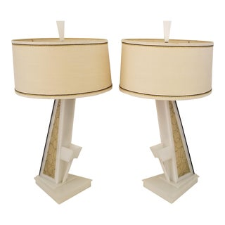 1950s Lucite Moss Studios Lamps With Shades - a Pair For Sale
