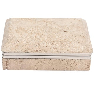 Vintage Travertine Italian Stone and Nickel Silver Hinged Box For Sale