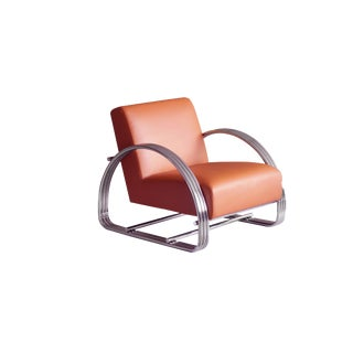 Modern Pasargad Home Concord Burnt Orange Lounge Chair For Sale