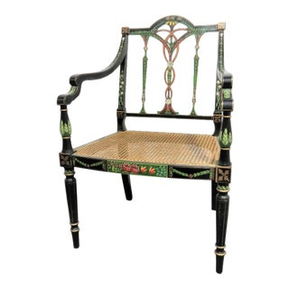20th Century Regency Hand Painted Decorated Chair For Sale