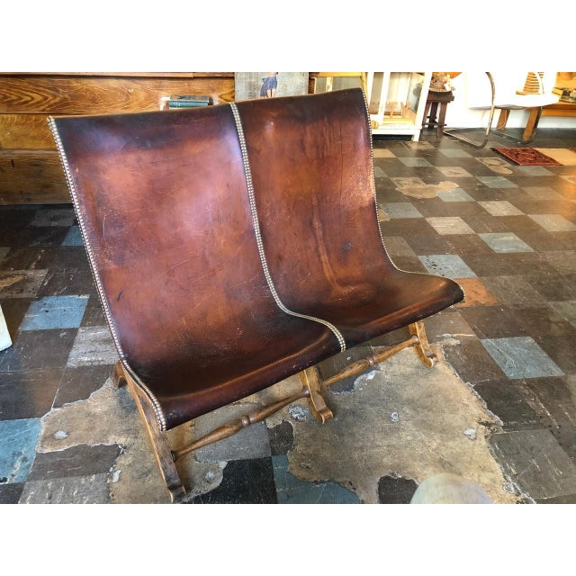 1950s Vintage Leather Riveted Settee For Sale - Image 13 of 13