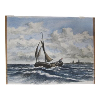 Vintage Watercolor Painting of a Sailboat For Sale