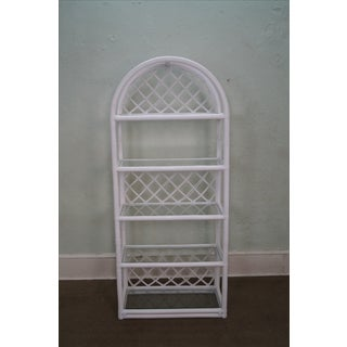 Clark Casual White Rattan Bamboo Etageres - A Pair Preview