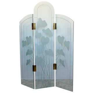 1960s Mid-Century Modern Etched Glass & Brass 3 Panel Room Divider Screen For Sale