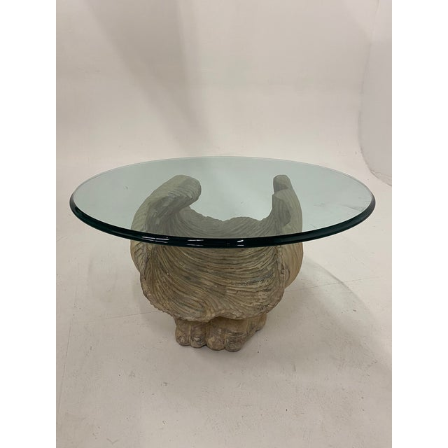 Italian Carved Wood Shell Base Coffee Table With Round Glass Top For Sale - Image 13 of 13