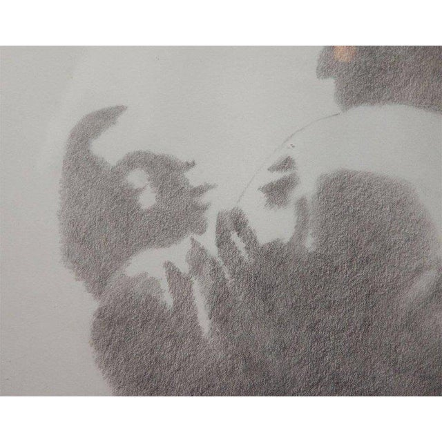 "1970s Unique Realistic Mid-Century Modernist Pencil Drawing entitled ""The Embrace"" For Sale - Image 5 of 7"