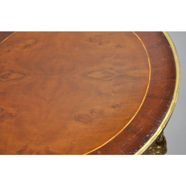 Brown French Regency Neoclassical Style Bronze Rams Head Round Inlaid Pedestal Table For Sale - Image 8 of 12