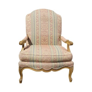 French Country Carved Wood Arm Chair by Century For Sale