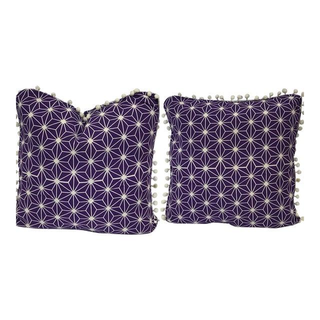 Moroccan Purple Cotton Pillows - a Pair For Sale
