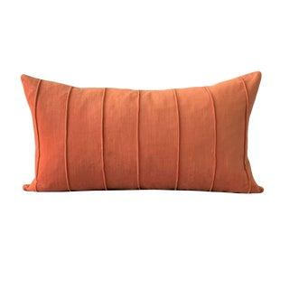Contemporary Burnt Orange Velvet Lumbar Pillow For Sale