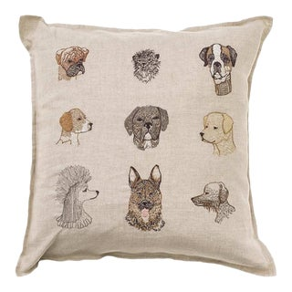 Embroidered Dogs Pillow For Sale