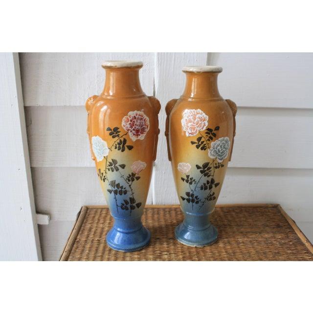 20th Century Japanese Satsuma Gold And Blue Ceramic Vases A Pair