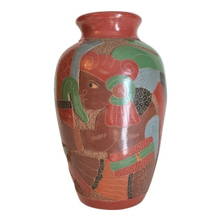 Vintage Mexican Pre Columbian Motif Carved & Polychome Vase For Sale