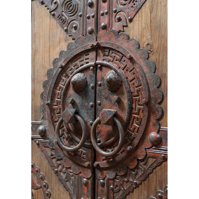 Measured at a soaring 7 feet tall, these antique wooden doors were  recovered from a - Vintage Chinese Wooden Temple Doors With Iron Hardware Chairish