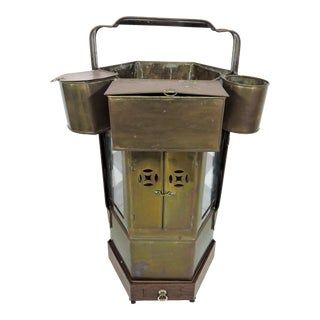 20th Century Chinese Hawkers Brass Food Cart With Pedestal For Sale