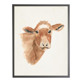 """Watercolor Brown Cow Framed Print - 19"""" X 25"""" For Sale"""