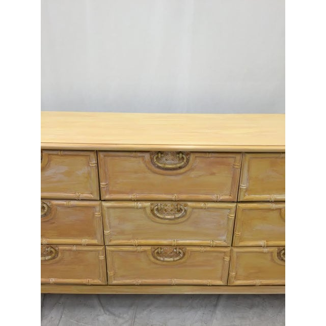 Vintage Bamboo Dresser by Bassett For Sale - Image 5 of 9