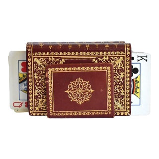 Vintage Italian Decks of Playing Cards as Faux Leather and Gilt Bound Books - a Pair For Sale