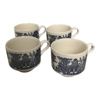 """English """"Blue Willow"""" Breakfast Cups - Set of 4"""