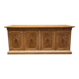 Vintage American of Martinsville Burl Wood Storage Cabinet For Sale