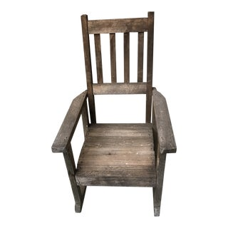 Vintage Stickley Mission Style Child Wood Rocking Chair For Sale