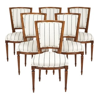 Louis XVI Style Striped Dining Chairs - Set of 6 For Sale