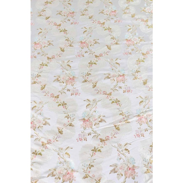 Roll of 7 Yards Heavy Floral Embroidered Silk Brocade Satin Upholstery Fabric - Image 3 of 9