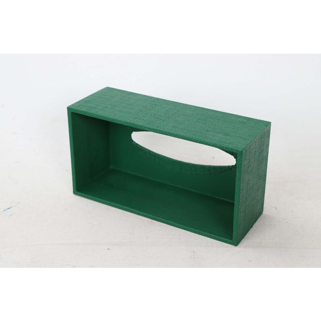 Wood Green Linen Covered Tissue Box Cover For Sale - Image 7 of 8