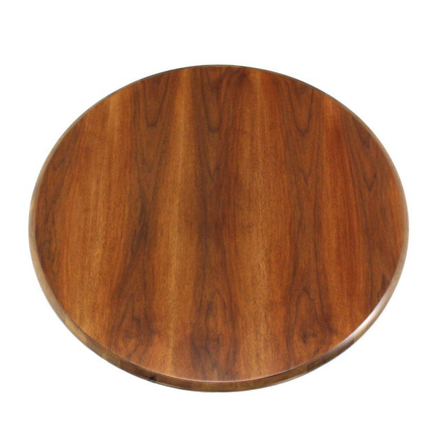 Mid-Century Modern Walnut X-Base Round Coffee Table For Sale - Image 3 of 6