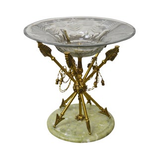 Regency Style Brass Crossed Arrows Crystal Composite Centerpiece W/ Marble Base
