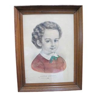 Currier & Ives Antique Hand Colored Print Little Johnny Child Boy Portrait For Sale