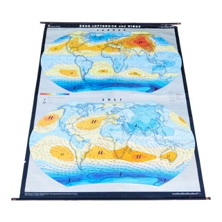 Vintage Haack Gotha World Air Pressure & Wind Weather Map For Sale