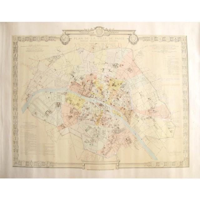 1887 Original French Map of Paris, Retrospective For Sale