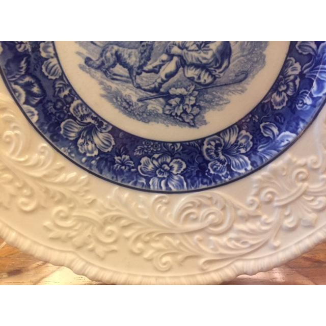 French Country Blue Transferware Charger Round Plates - Set of 12 For Sale In Los Angeles - Image 6 of 13