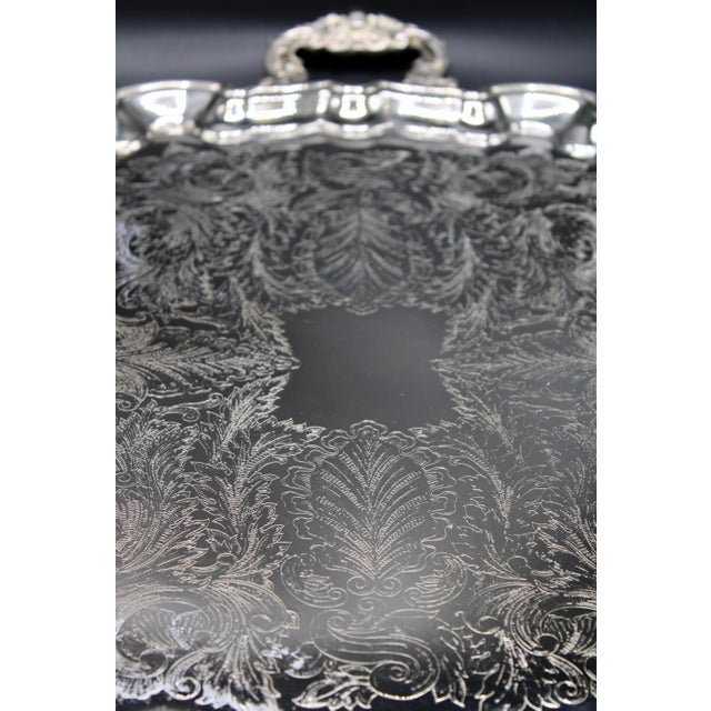French Silver Plate Footed Tray With Ornate Scrolls and Engravings For Sale - Image 4 of 10