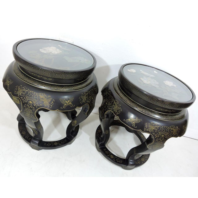 Vintage Chinese Mother of Pearl & Soapstone Black Lacquer Garden Stools/Side Tables - a Pair For Sale - Image 9 of 9