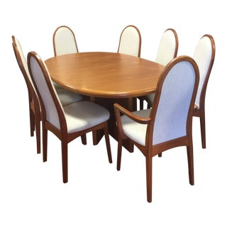 Starburst Mid-Century Danish Modern Teak Dining Table & Chairs For Sale