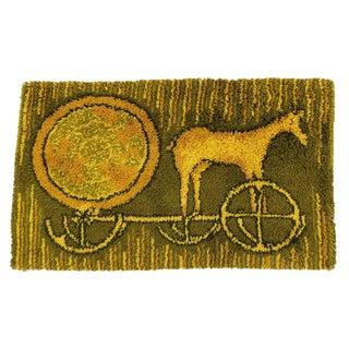 1970s Mid Century Modern Green & Yellow Fiber Art of Horse & Carriage Area Rug